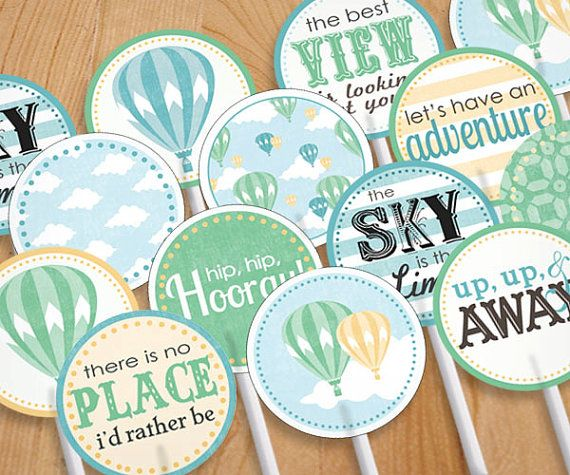 HOT AIR BALLOON Cupcake Toppers & Party by PrintasticDesign, $5.00