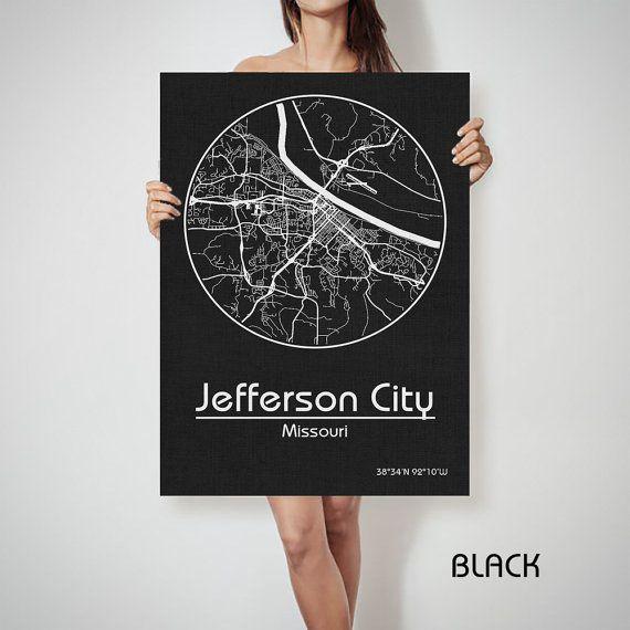 JEFFERSON CITY Missouri Street City Map Art Print by ArchTravel