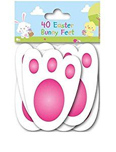 40 Easter Bunny Feet Kids Party Game Egg Hunt Rabbit Footprints Reusable 11cm: Amazon.co.uk: Kitchen & Home