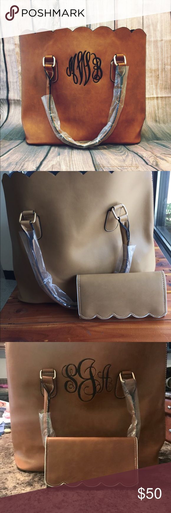 Monogram Scallop Tote & Wallet Set Super cute boutique shoulder bag with matching scallop wallet. Comes in the color khaki and camel. They don't have a zipper, they are just open at the top. The wallet has two snaps for closure! Bags Shoulder Bags
