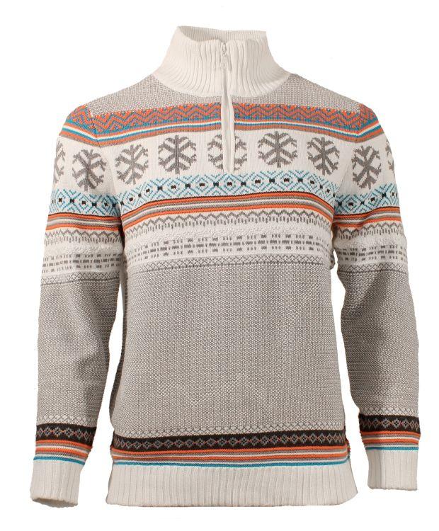 Redhill strikket genser1/2 zip genser i fargerikt strikk. Helfôret genser i en bomullskvalitet som er blandet med noe syntetisk materiale.