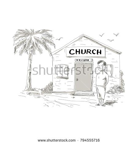 Cartoon style illustration of a skinny shirtless Samoan boy wearing lavalava standing by, beside or in front of church with coconut tree behind.  #church #cartoon #illustration