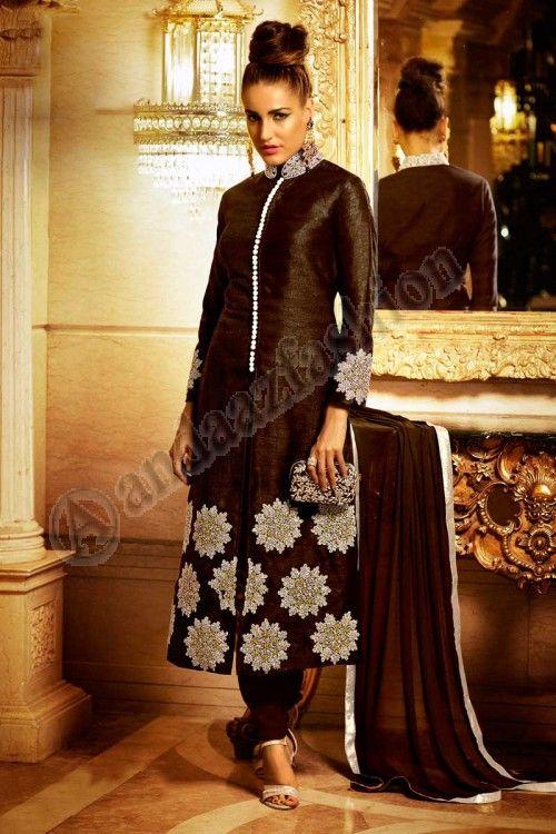 #AndaazFashion presents Brown Bhagalpuri Silk Churidar Suit With Dupatta Price:$104.50 http://www.andaazfashion.com/salwar-kameez/churidar-suits/brown-bhagalpuri-and-silk-churidar-suit-with-dupatta-dmv13801.html