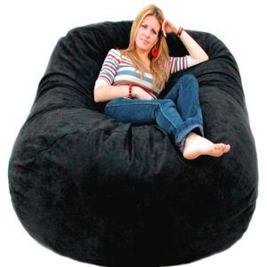 6 Feet X Large Black Cozy Sac Foof Bean Bag Chair Love Seat