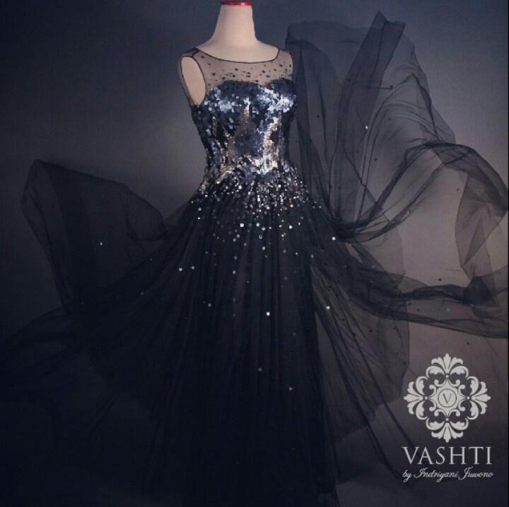 Black sequin tulle dress