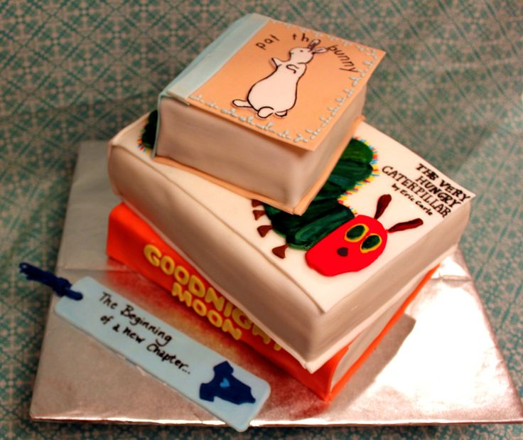 Cake Designs With Books : Stacked Baby Books Cake by TwoLittleEs. Cute baby shower ...