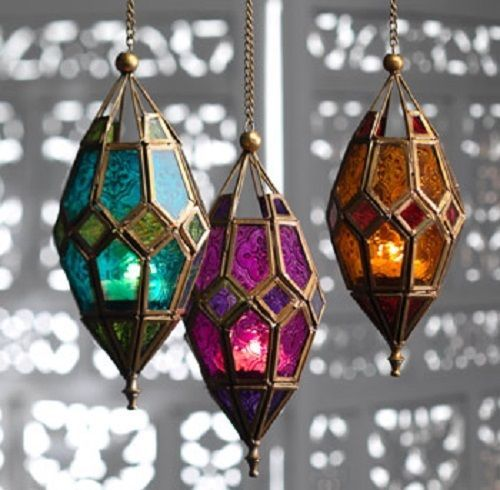 Moroccan model hanging glass lantern – amber purple inexperienced hippy boho candle in H…