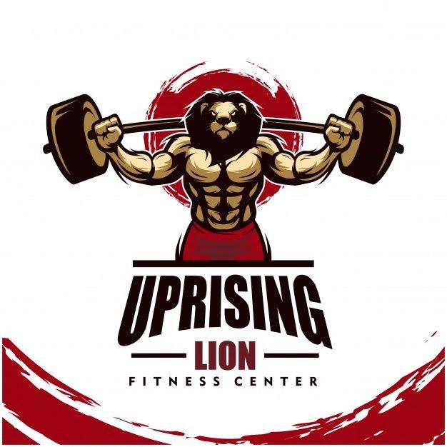 Leao Com Corpo Forte Clube De Fitness Ou Logotipo Da Academia Gym Logo Strong Body Fitness Club