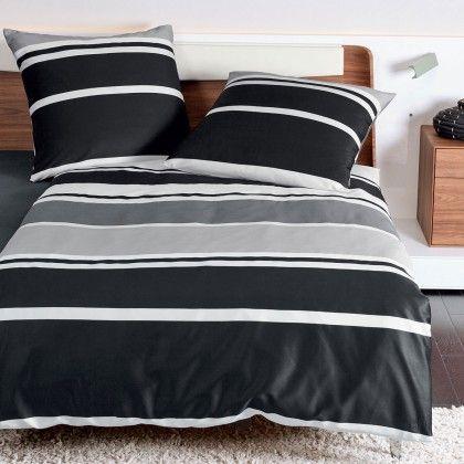 Janine Mako-Satin Bettwäsche J.D. 87010-08 platin aus fein schimmernder Baumwolle. Der edle Glanz und die Blockstreifen in Schwarz, Grau und Weiß machen die griffigen Bettwaren zum Liebling im Schlafbereich. Gestreifte Bettwaren in erstklassiger Qualität. #bettwäsche #bedding #schwarzweiss #blackandwhite #blacknwhite #stripes #streifen www.bettwaren-shop.de