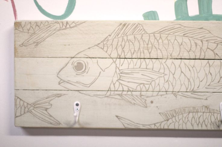 White wooden hanger fish illustrated a project of up cycling by littlerocksPK on Etsy