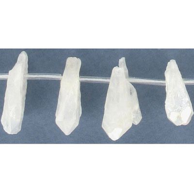 Semi-precious beads, top drilled point, crystal white quartz, coated, 16 inch strand