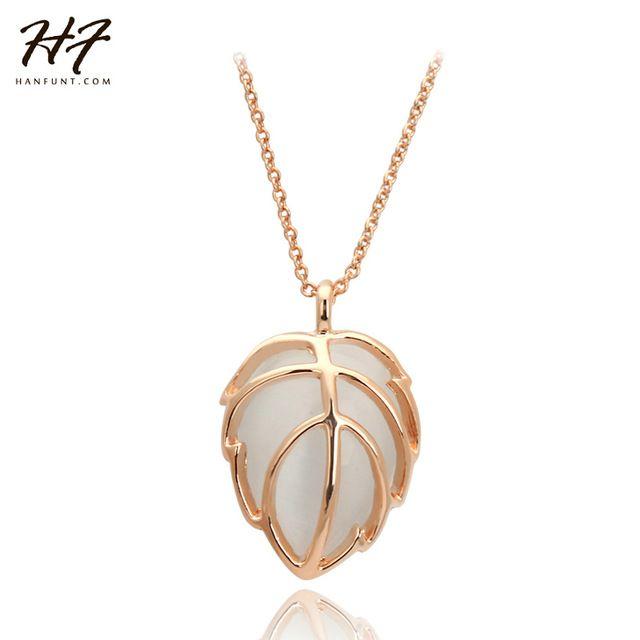 Розовое Золото Цвет Имитация Опал Камень форма Листа Подвеска Подарок Ожерелье GP Цепи Ожерелье и Кулон N274
