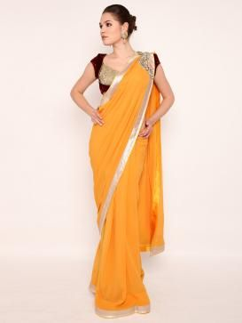 Indian Designer Gaurav Gupta's Yellow Georgette Saree