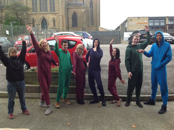 Some of the staff at whittakers enjoying onesie day!
