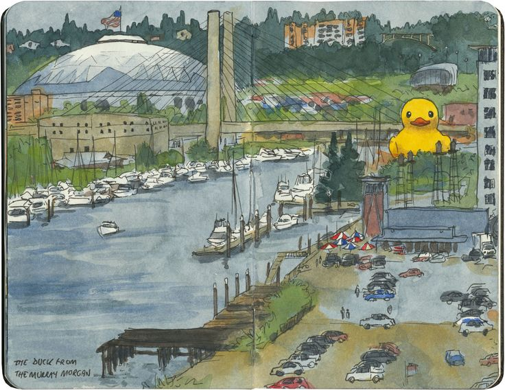 The world's largest rubber ducky—with the world's largest wooden dome for scale. Sketched in Tacoma, WA.