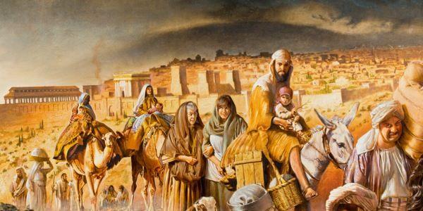 Cristianos del primer siglo abandonando Jerusalén