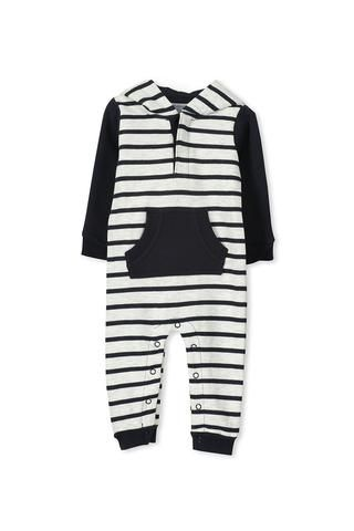 This stripe fleece romper by Milky has the cutest little hood with teddy ears and an embroidered face.... available online at spunkybubs