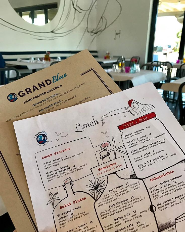 Interesting menu set @thegrandblueaz. The illustrations match the art on the walls. #detailsmatter #welovemenus #menu #menudesign #restaurant #restaurantdesign #restaurantbranding #seafood #sushi #scottsdale #arizona #yum