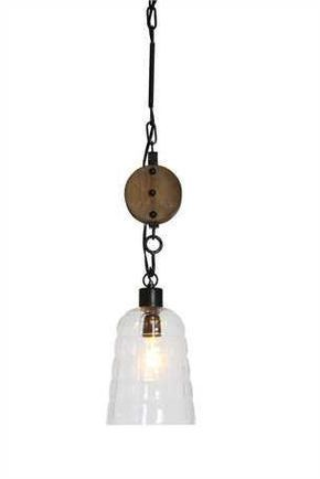 Glass Pendant Light With Wood Pulley Out Of The Woodwork Designs