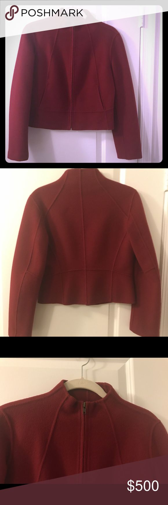 Donna Karan Couture Jacket. Deep ruby red exquisite Donna Karan wool jacket. Front zip with two flat front pockets. Beautiful piping adds great structure. Wear as a suit jacket with trousers or a skirt OR with jeans or leather pants or skirt. Very versatile and fashionable. Enjoy!! Donna Karan Jackets & Coats