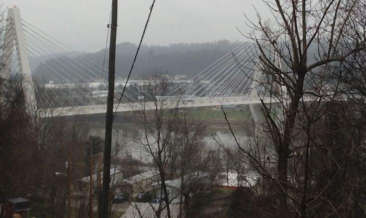 View of Pomeroy-Mason bridge from flood road