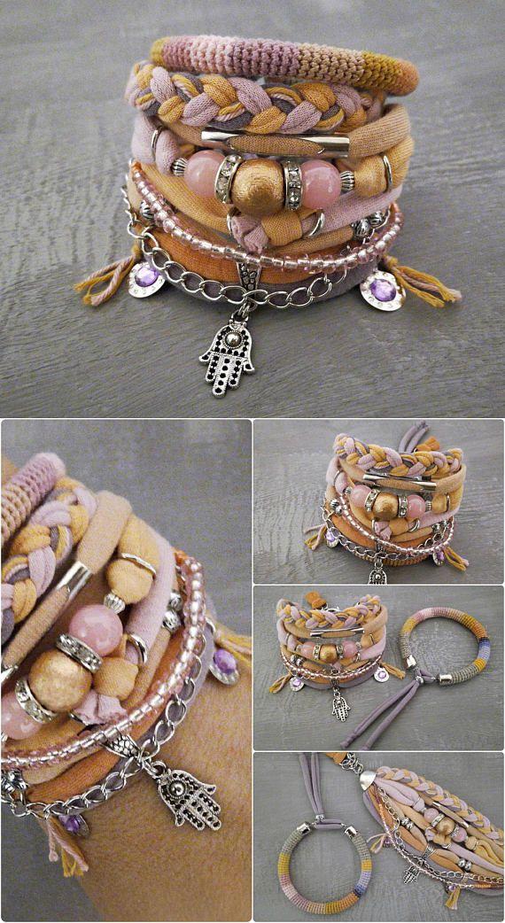 Peach Pink Bohemian Bracelet Boho Bracelet Set Pastel