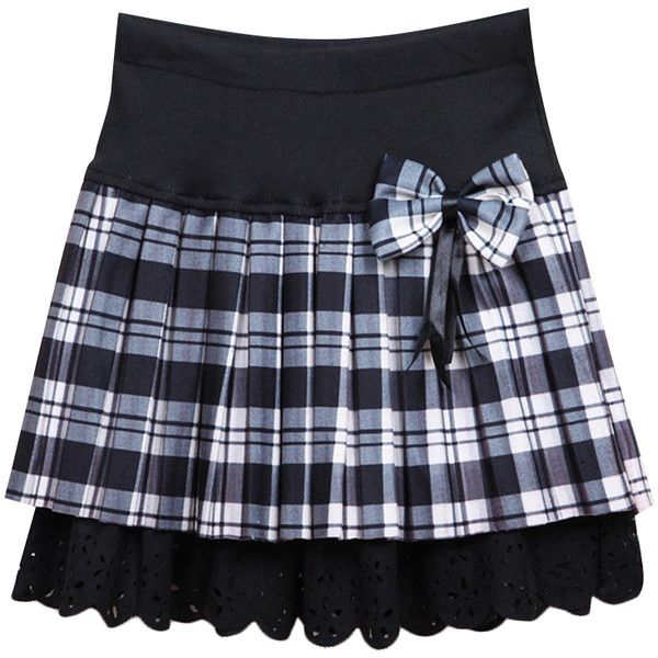 Preppy Style Tartan Plaid Bow Lace Hem Skirt (17 AUD) ❤ liked on Polyvore featuring skirts, knee length lace skirt, bow skirt, preppy plaid skirt, blue skirt and preppy skirts