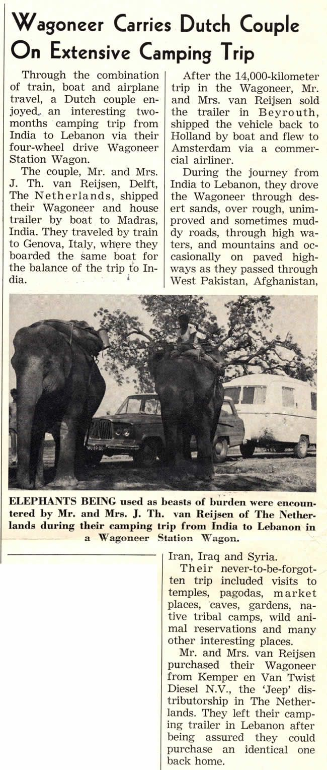 1966 article in Jeep News of an awesome journey.