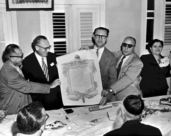 Event related to the Jewish National Fund - Havana, Cuba L-R: David Feldfeber, Miguel Graber, Leon Schuster, Avraham Kozolchik and Genia Schuster.