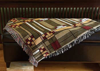 Studio Skylight Throw, Wright's celebrated skylight from his Oak Park Studio (Oak Park, Illinois,1898) has been adapted for this cozy throw., $86.00