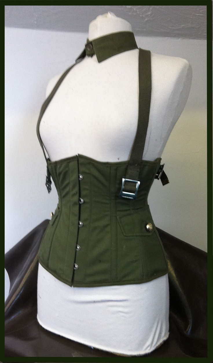 Steel boned military under bust buckle corset. £99.00, via Etsy. #military #clothing #corset #underbust