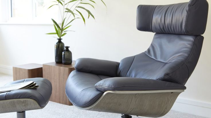 Blue Leather Recliner and Footstool | UK Delivery