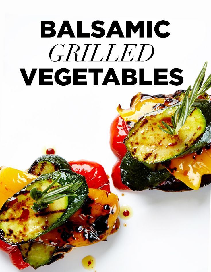 These balsamic and olive oil-marinated peppers, zucchini and portobello mushrooms are grilled to perfection and then stacked and served with a fresh rosemary sprig. #BiteMeMore #Recipes