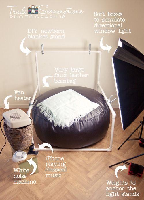 Newborn DIY blanket backdrop stand and bean bag.    Newborn photographer Edinburgh