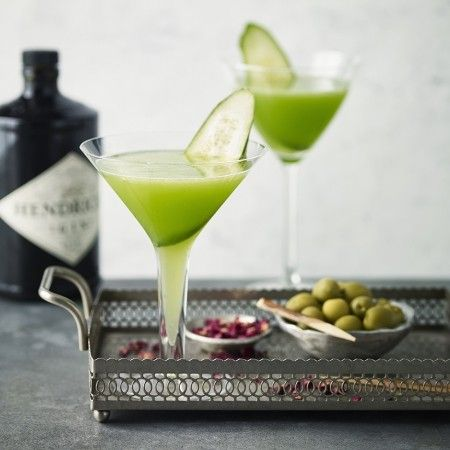 For a healthy spin on a cocktail try a cucumber martini. Hendricks gin is infused with cucumber and rose, which makes it the perfect match for this refreshing tipple. Half-fill a cocktail shaker with ice. Add the gin, cucumber juice, Martini Bianco, mint leaves and rosewater. Place the lid on and shake vigorously for 1 minute. Remove the lid and strain the liquid into the glasses. Add a thick slice of cucumber to each and serve.