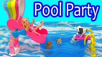 Barbie Doll Slide & Spin Pups Puppy Pool Water Play Playset - Cookieswirlc Video - YouTube