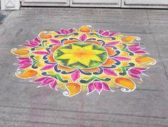 Sand painted kolam for Pongal. Photo: Richard Clarke.