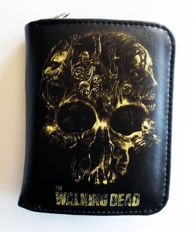 The Walking Dead Skull Wallet Zippered Pouch Pleather Vegan Wallet Birthday Gift #Unbranded #Envelope