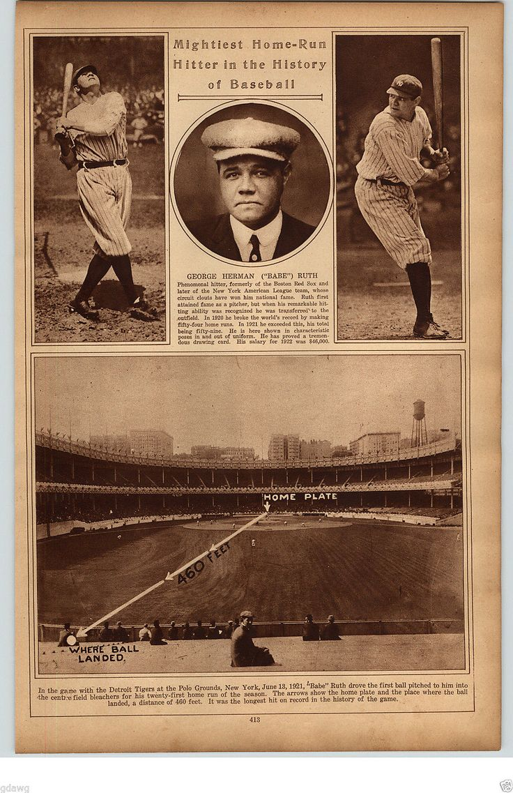 "1922 Rotogravure Picture Photo ""babe"" Ruth Polo Grounds Ny Collins Sisler O'neil"
