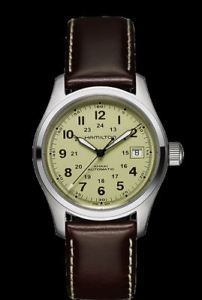 HAMILTON H70455523 MEN'S KHAKI FIELD AUTOMATIC  DATE MILITARY TIME 38MM WATCH.