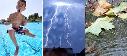 Herbst im Anmarsch  Sommer gibt Abschiedsgala    Schwimmbad bei über 30 Grad – der Spätsommer in Hessen zeigt sich heute von seiner schönsten Seite. Doch man ahnt, das kann nicht ewig so gehen. Und tatsächlich erwarten die hr-Wetterexperten ab Mittwoch einen Temperatursturz.