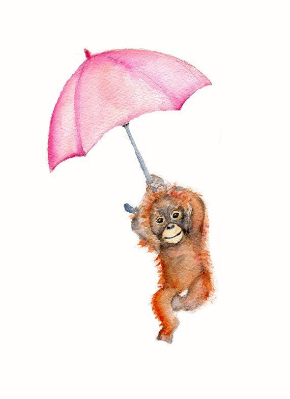 Monkey with pink umbrella - nursery print  ***8 X 10 vertical print of an orangutan monkey with a pink umbrella  ***printed on Velvet fine art