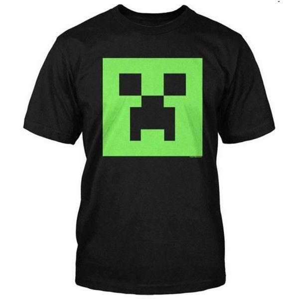 Minecraft t-shirt til drenge børn med sort selvlysende hoved