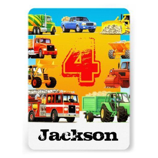 Big Trucks 4th Birthday Party Invitations From TruckStore 4thbirthday Firetrucks