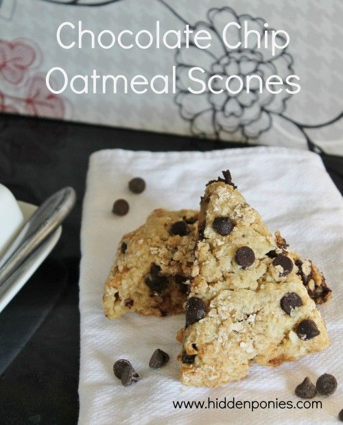 Oatmeal Chocolate Chip Scones - a healthy, easy breakfast that tastes like an oatmeal chocolate chip cookie!