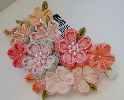 Colorful Cherry blossom made of Chirimen,Kimono fabric