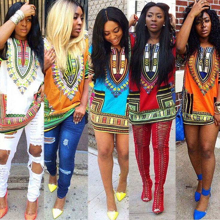 Womens African Dashiki Shirt Kaftan Boho Hippe Gypsy Festival Tops Party Dress