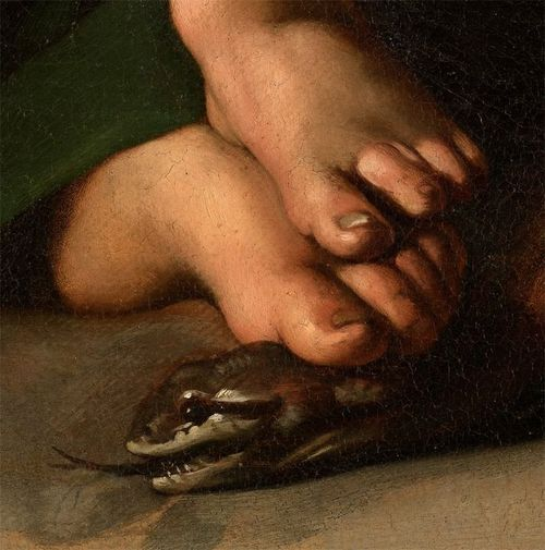 """Detail from Caravaggio's """"Madonna with the Serpent""""."""