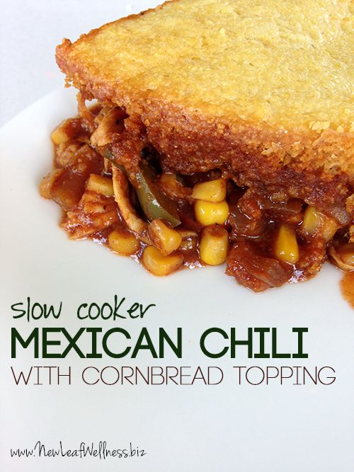 Slow Cooker Mexican Chili with Cornbread Topping (freezer directions included for preparing ahead of time)