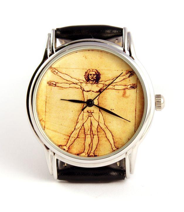 """Uhr mit Vitruvian Man Leonardo Da Vinci Foto.  Neues band.  Durchmesser: 2,9cm / 1,2"""" Breite: 3,4cm / 1,3"""""""